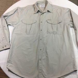 Columbia Men's Long Sleeve Button Down Beige Shirt